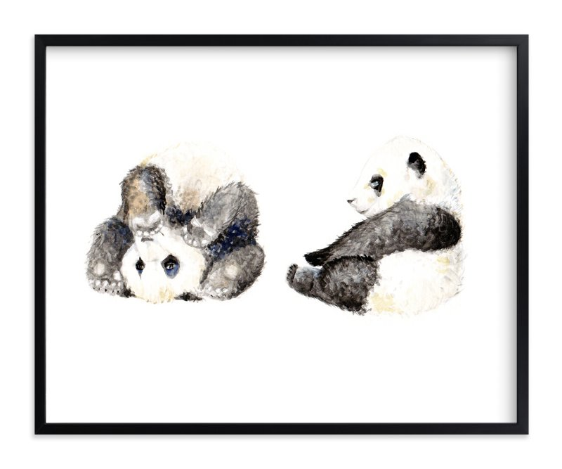 """Playful pandas"" - Art Print by Lauren Rogoff in beautiful frame options and a variety of sizes."