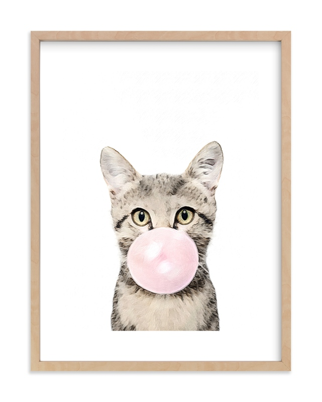 Bubblegum Animals: Cat Self-Launch Children's Art Print