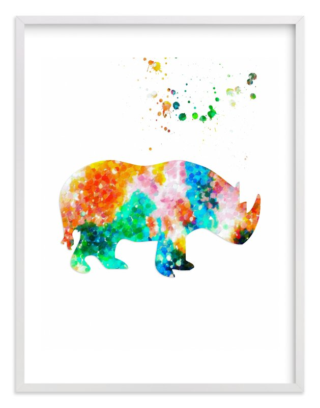 """""""Hello Rhino!"""" - Art Print by Alex Isaacs Designs in beautiful frame options and a variety of sizes."""