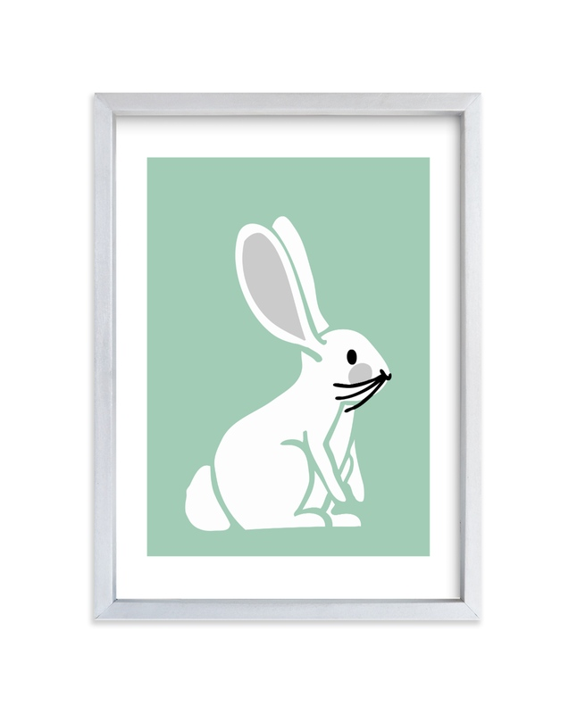 """""""Nursery Bunny II"""" - Art Print by Luz Alliati in beautiful frame options and a variety of sizes."""