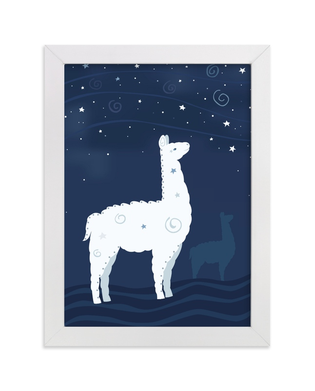 """Look at the Stars 9 Llama"" - Art Print by Jennifer Holbrook in beautiful frame options and a variety of sizes."