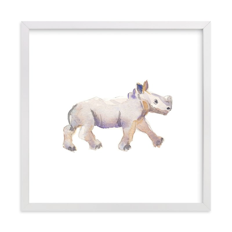 """""""Baby Rhino Watercolor"""" - Art Print by Haley Mistler in beautiful frame options and a variety of sizes."""