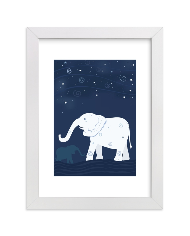 """Look at the Stars 2 Elephant"" - Art Print by Jennifer Holbrook in beautiful frame options and a variety of sizes."