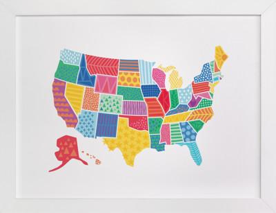 Super States of America Map Self-Launch Children's Art Print