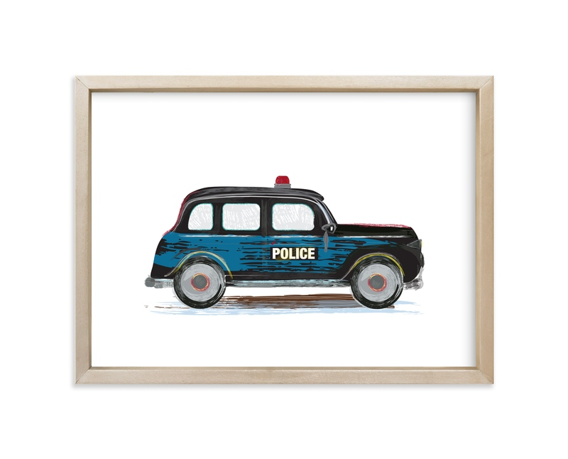 """""""Vintage Police Car"""" - Art Print by Rebecca Marchese in beautiful frame options and a variety of sizes."""
