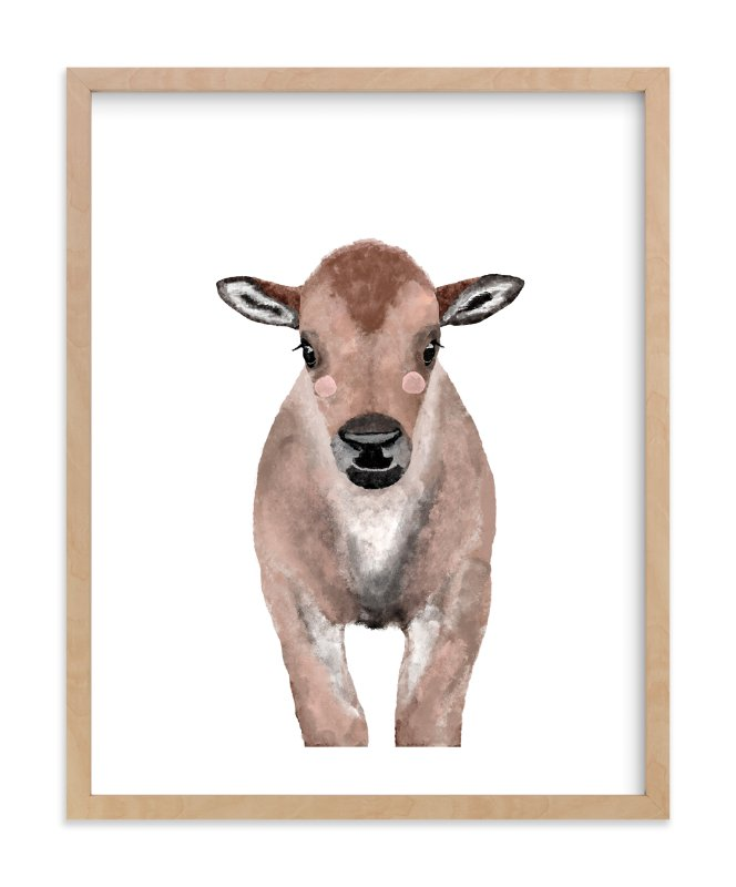 """Baby Animal Bison"" - Art Print by Cass Loh in beautiful frame options and a variety of sizes."