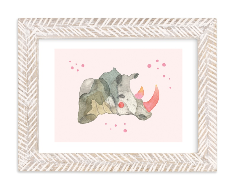 """""""Pink Tusk Rhino"""" - Art Print by Nikki Rene in beautiful frame options and a variety of sizes."""