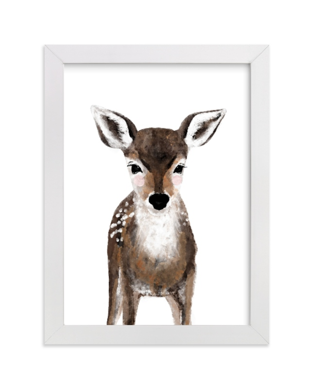 This is a brown kids wall art by Cass Loh called Baby Animal Deer with standard.