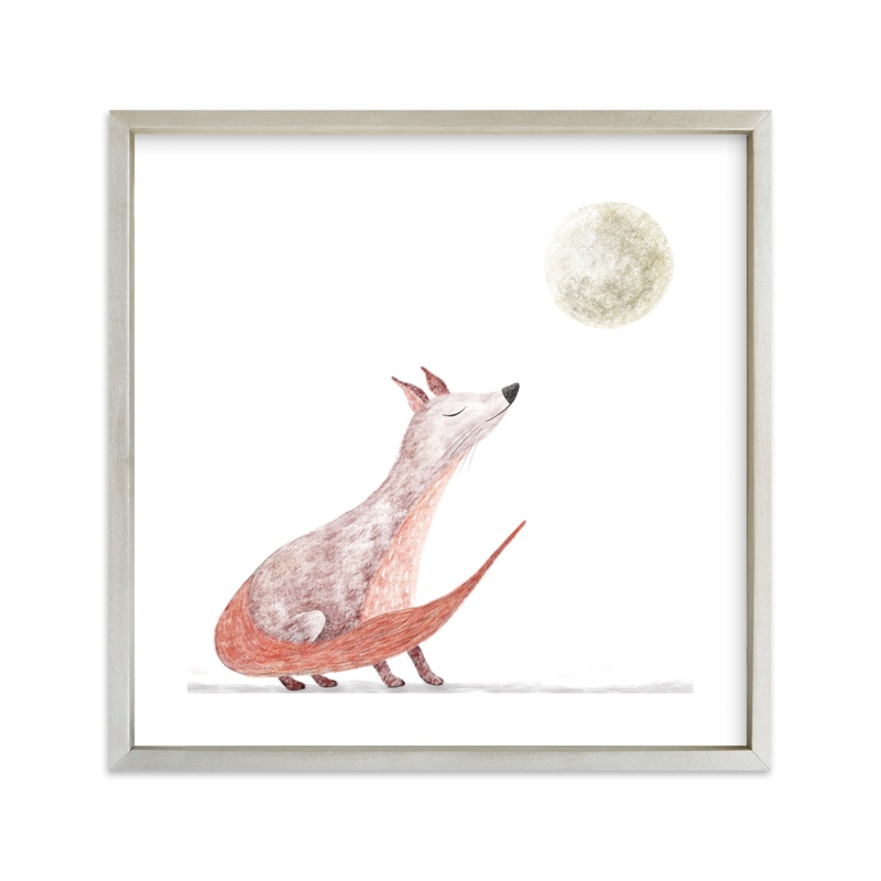 """""""Fox at harvest moon """" - Art Print by Maja Cunningham in beautiful frame options and a variety of sizes."""