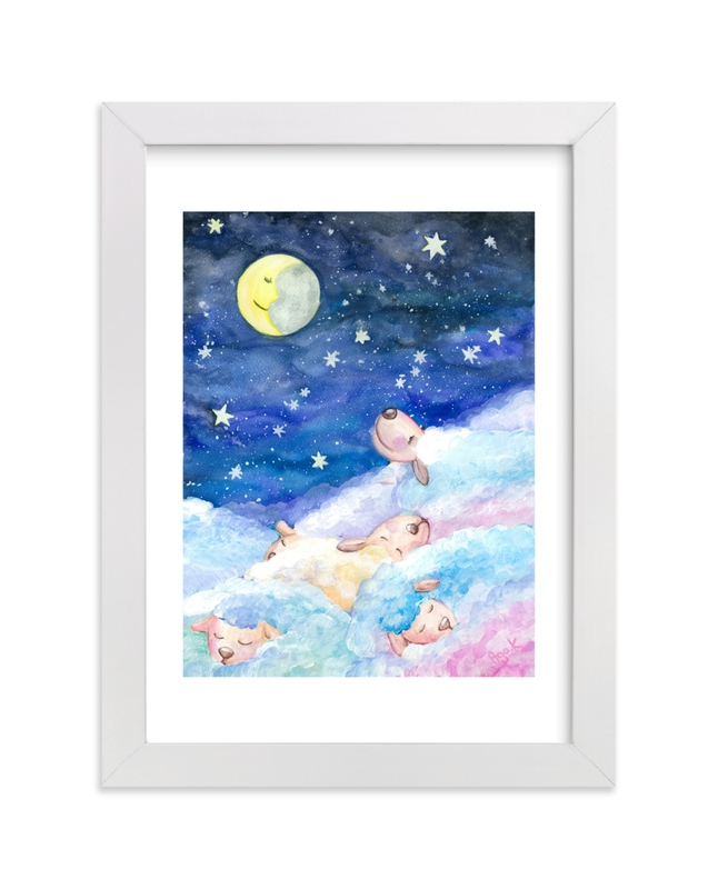 """Moony Sheep"" - Art Print by Aga in beautiful frame options and a variety of sizes."
