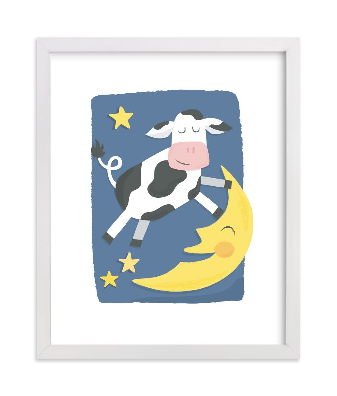"""The Cow Jumped Over the Moon"" - Art Print by Jessie Steury in beautiful frame options and a variety of sizes."
