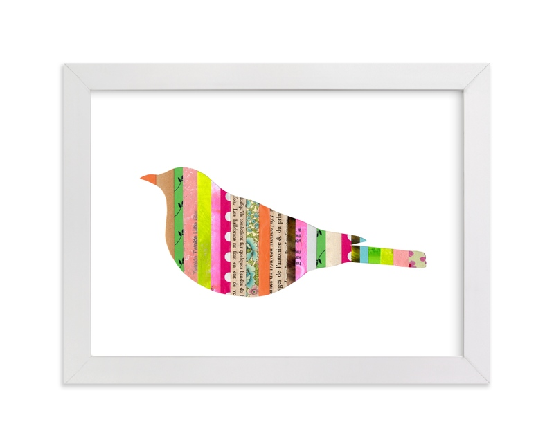 """Stripy Bird"" - Art Print by Shelley Kommers in beautiful frame options and a variety of sizes."