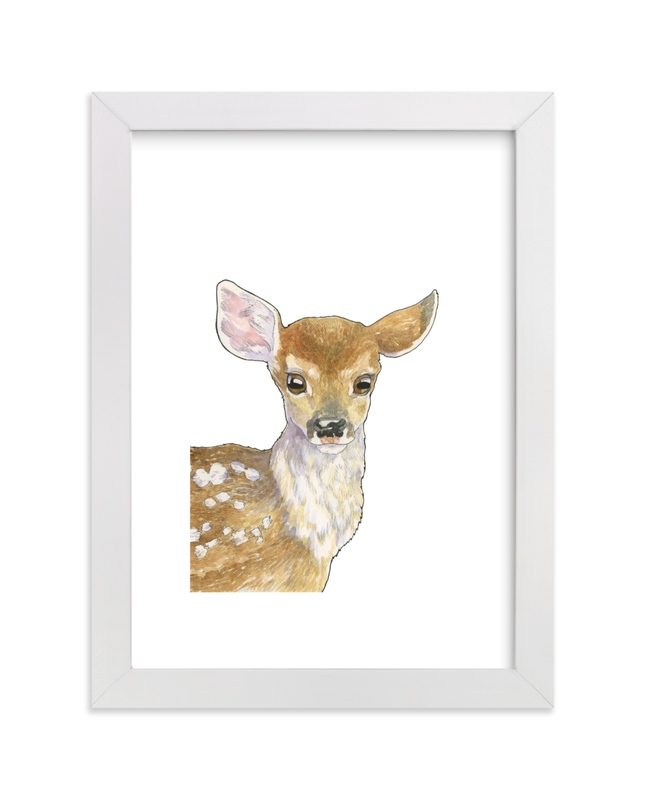 """""""Friendly Fawn"""" - Art Print by Natalie Groves in beautiful frame options and a variety of sizes."""