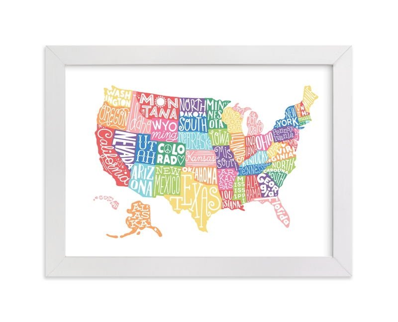 """""""United States Typography Map"""" - Art Print by Jessie Steury in beautiful frame options and a variety of sizes."""