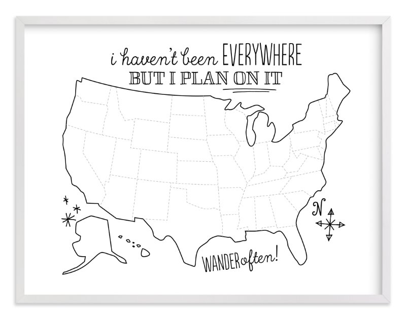 """""""Where You've Been Map"""" - Art Print by Jessie Steury in beautiful frame options and a variety of sizes."""