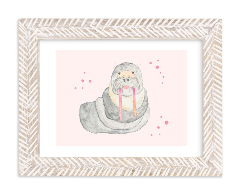 """""""Pink Tusk Walrus"""" - Art Print by Nikki Rene in beautiful frame options and a variety of sizes."""