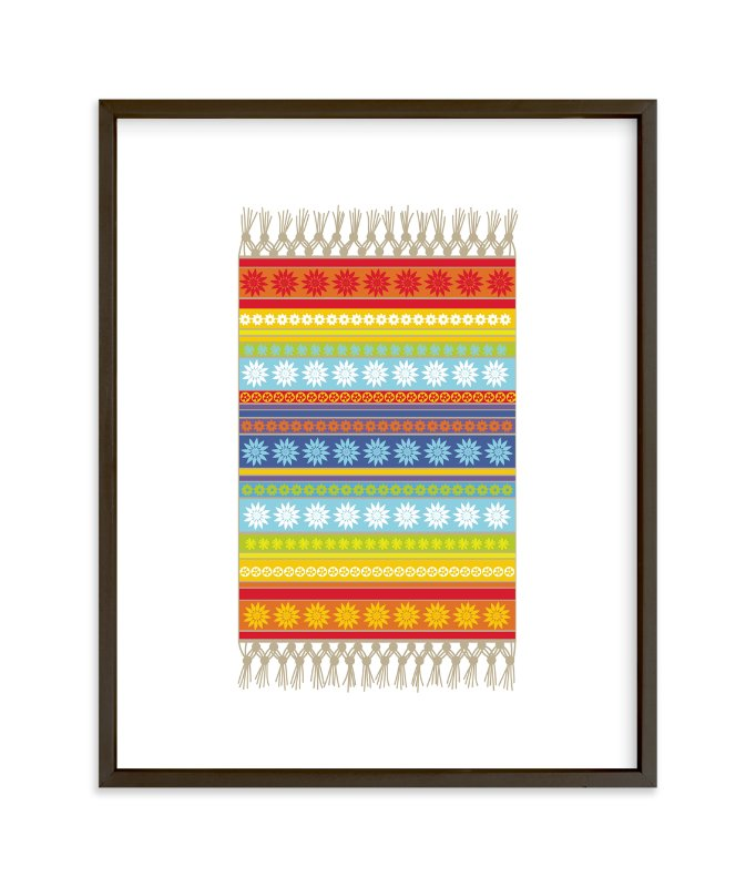 """Boho Floral Rug"" - Art Print by Jan Shepherd in beautiful frame options and a variety of sizes."