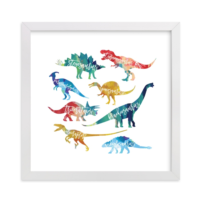 """""""Dinosaurs are Awesome"""" - Art Print by Holly Whitcomb in beautiful frame options and a variety of sizes."""