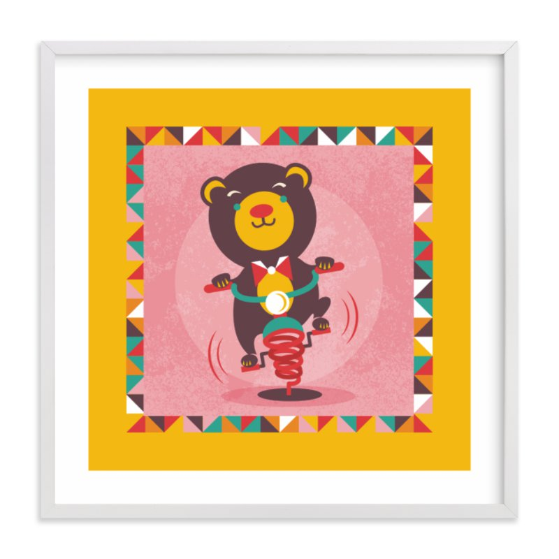 """""""Playground Bear"""" - Art Print by Mandy Rider in beautiful frame options and a variety of sizes."""