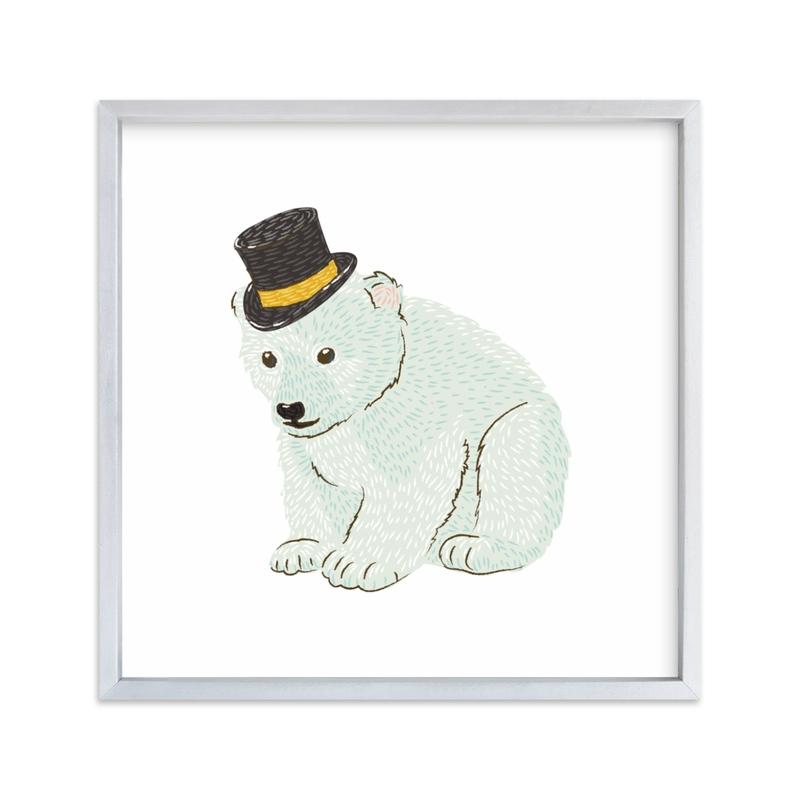 Polar Bear Cub with Hat Self-Launch Children's Art Print