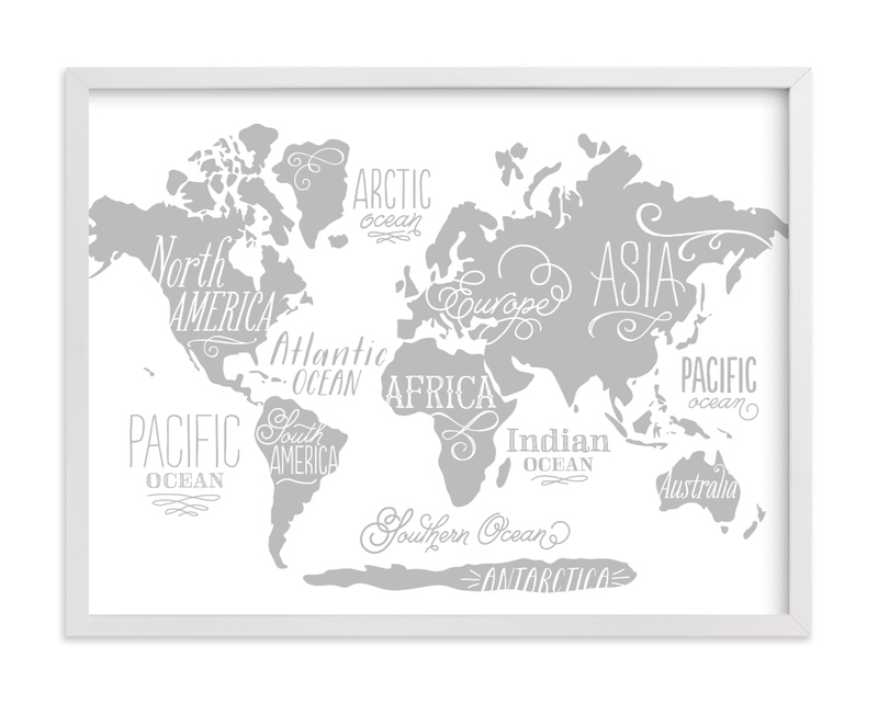 This is a black and white kids wall art by Jessie Steury called Wild Worldwide Map with standard.