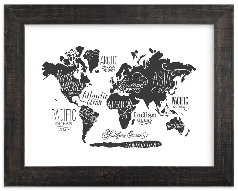 """Whimsical World Map"" - Art Print by Jessie Steury in beautiful frame options and a variety of sizes."