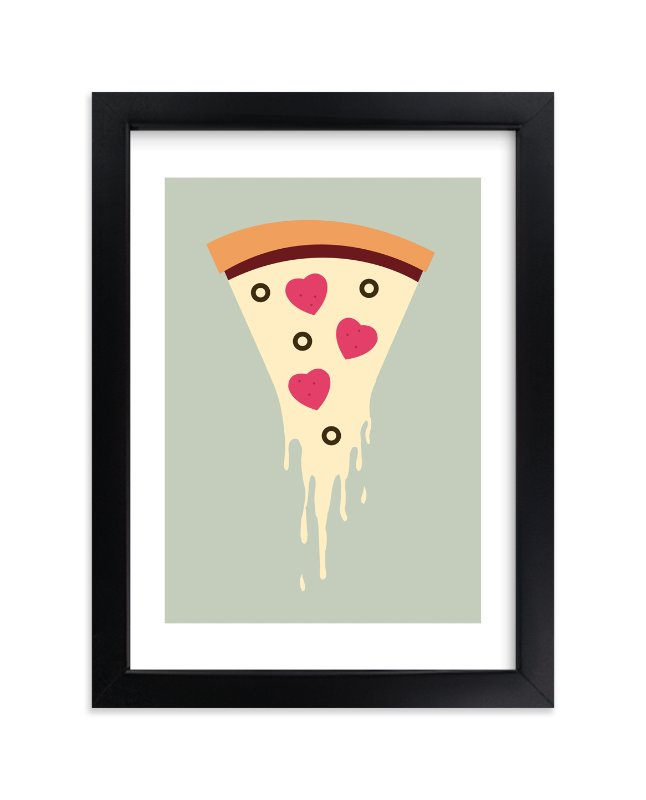 """I Love Pizza"" - Art Print by Katie Zimpel in beautiful frame options and a variety of sizes."