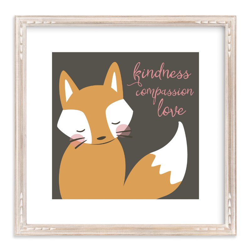 """""""kind fox"""" - Art Print by peetie design in beautiful frame options and a variety of sizes."""