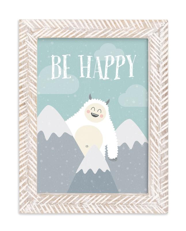 Be Happy Yeti Self-Launch Children's Art Print