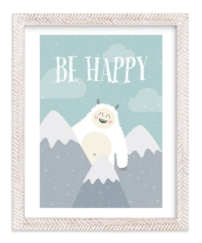 """""""Be Happy Yeti"""" - Art Print by Chelsey Scott in beautiful frame options and a variety of sizes."""