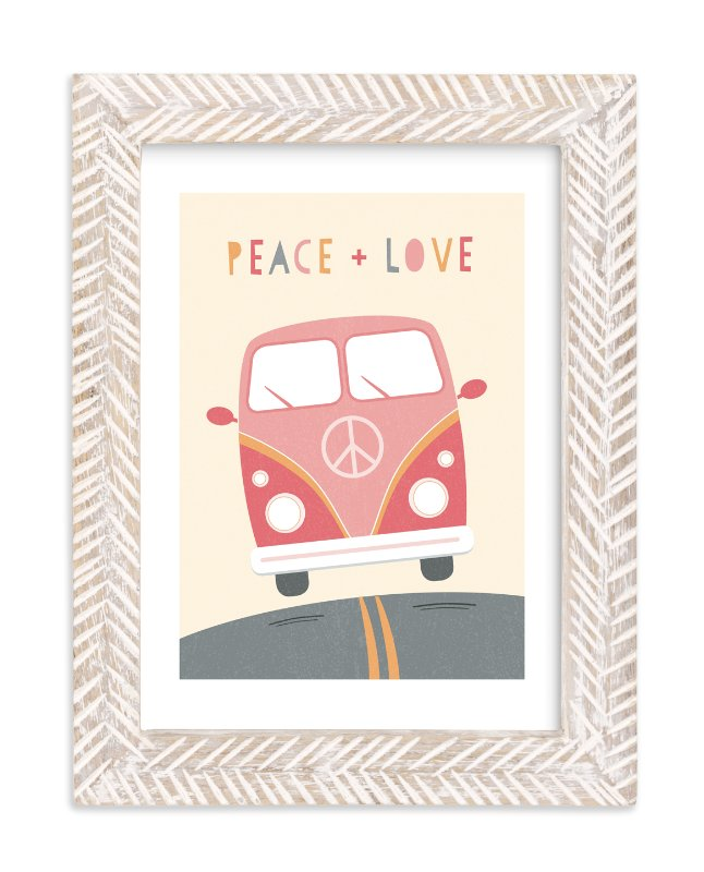 """Peace and Love Van"" - Art Print by Chelsey Scott in beautiful frame options and a variety of sizes."