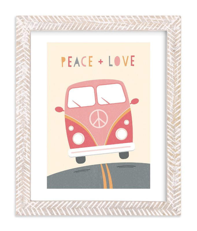 """""""Peace and Love Van"""" - Art Print by Chelsey Scott in beautiful frame options and a variety of sizes."""