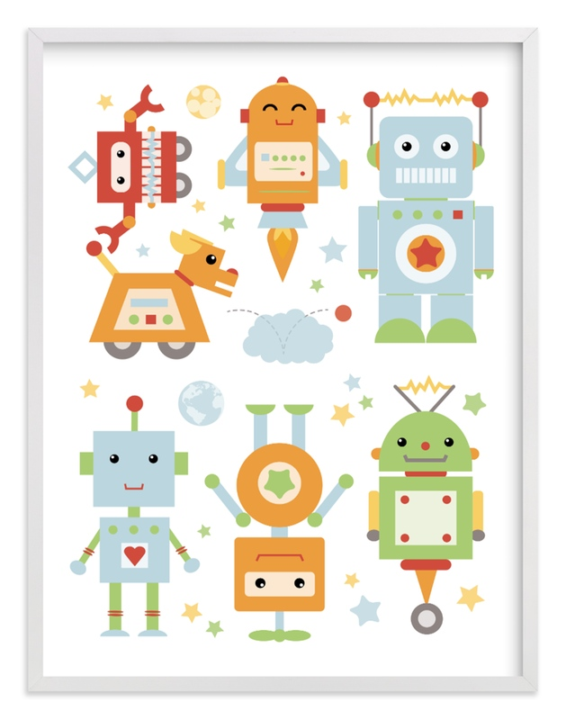 """Robot Collective II"" - Art Print by Dawn Jasper in beautiful frame options and a variety of sizes."