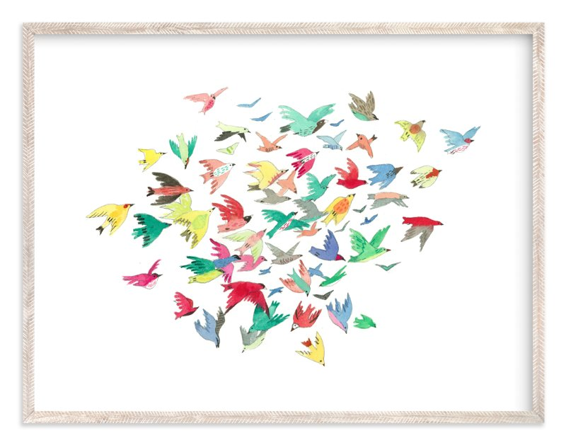"""""""Bright Birds"""" - Art Print by Eve Schultz in beautiful frame options and a variety of sizes."""