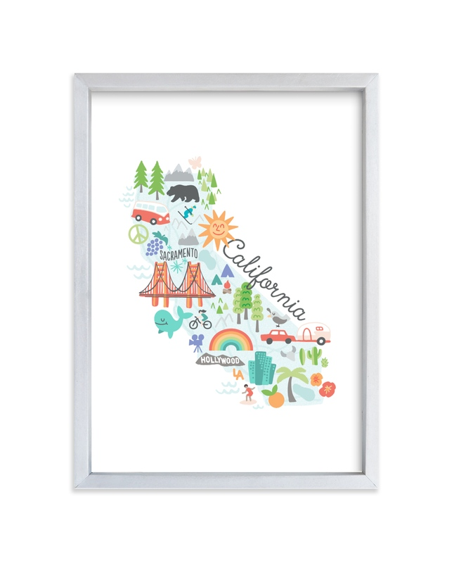 """California Kids Map"" - Art Print by Jessie Steury in beautiful frame options and a variety of sizes."