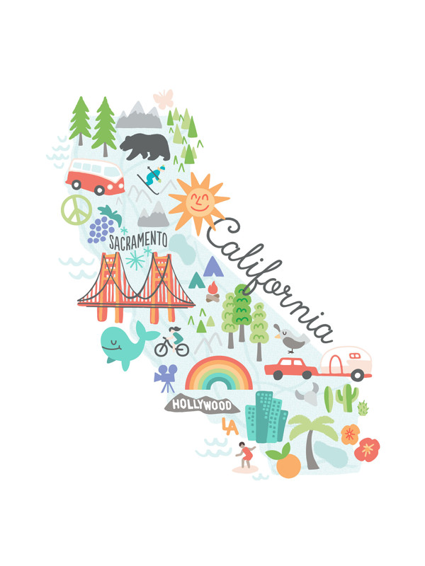 California Kids Map Wall Art Prints By Jessie Steury Minted