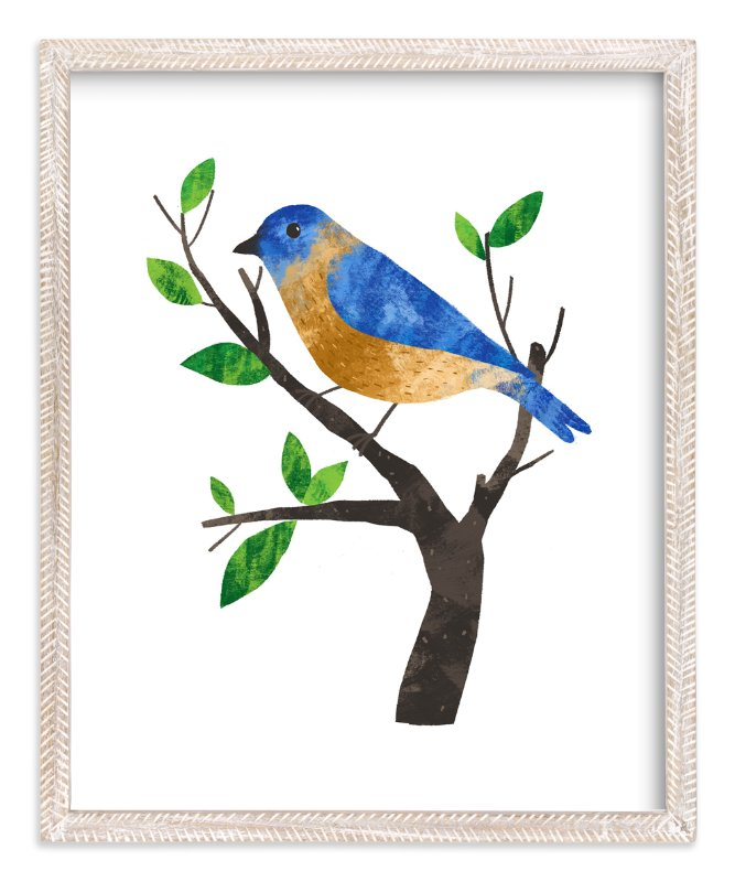 """Eastern Bluebird"" - Art Print by Evelline Andrya in beautiful frame options and a variety of sizes."