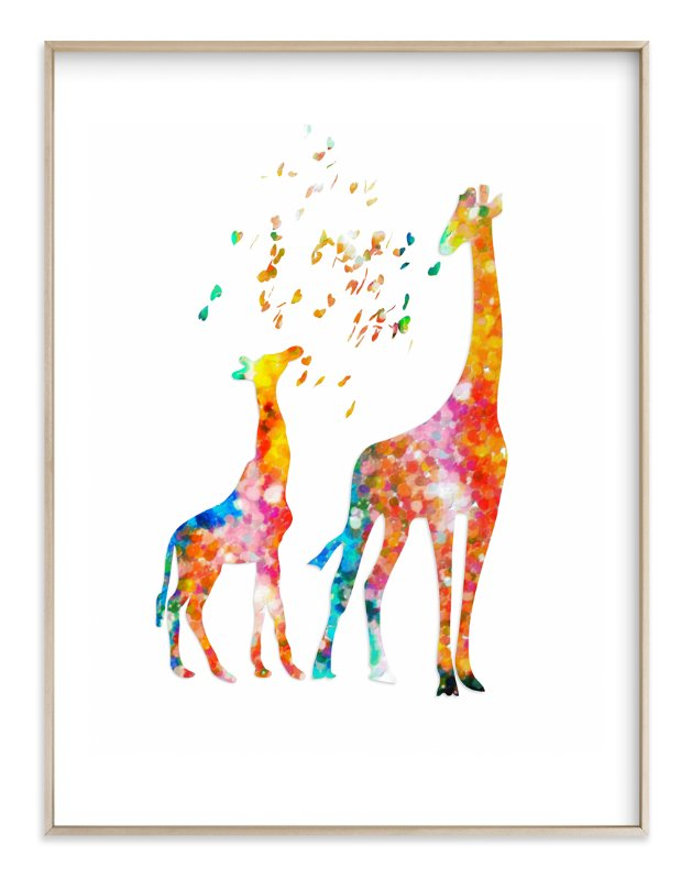 """""""Giraffe Mom & Baby"""" - Art Print by Alex Isaacs Designs in beautiful frame options and a variety of sizes."""