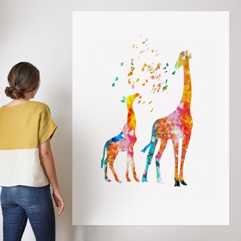 8x12 FT Giraffe Vinyl Photography Background Backdrops,Mom Kid Giraffe in Rainbow Colors Abstract Art Surrealist Image of Animal Background for Photo Backdrop Studio Props Photo Backdrop Wall