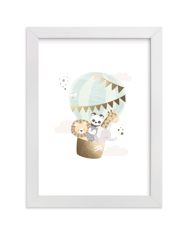 """baby animals balloon ride"" - Art Print by peetie design in beautiful frame options and a variety of sizes."