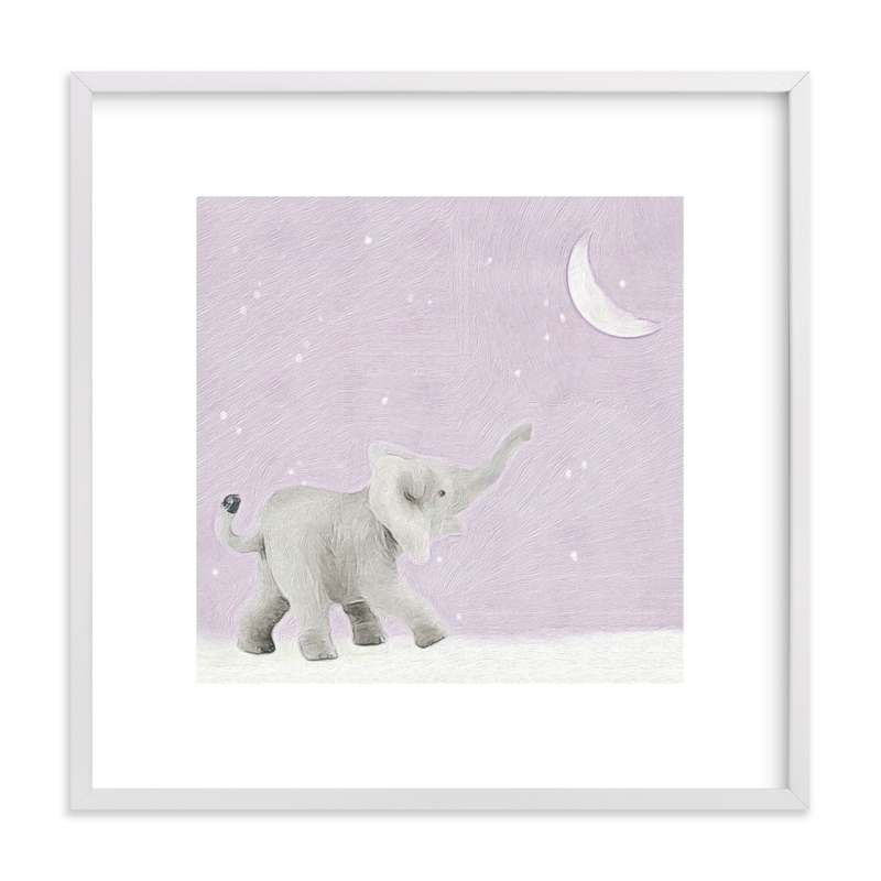 This is a purple kids wall art by Maja Cunningham called Moon Balloon Too with standard.