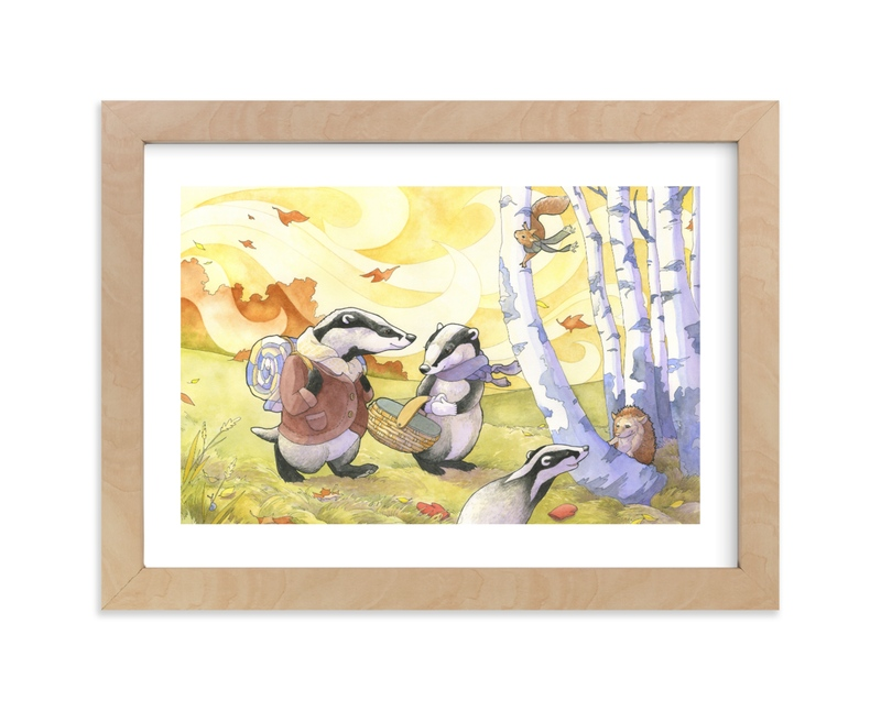"""""""Badger's Fall Picnic"""" - Art Print by Natalie Groves in beautiful frame options and a variety of sizes."""