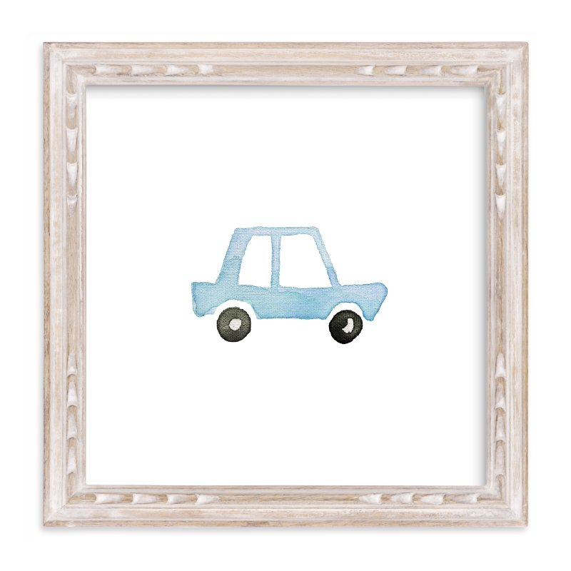 """Blue Car Art"" - Art Print by Jan Dolby in beautiful frame options and a variety of sizes."