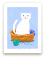 White Cat in the Basket by Evelline Andrya