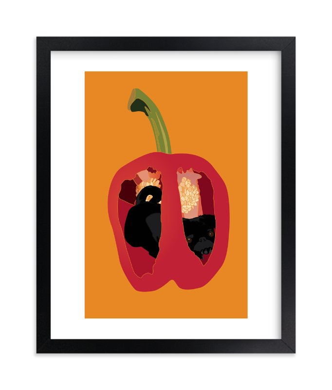 """""""There's a Pug in my Pepper"""" - Art Print by Pat Jennings in beautiful frame options and a variety of sizes."""