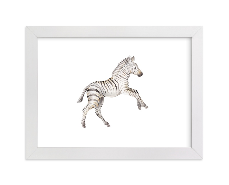 """Watercolor Zebra foal takes off! "" - Art Print by Lauren Rogoff in beautiful frame options and a variety of sizes."