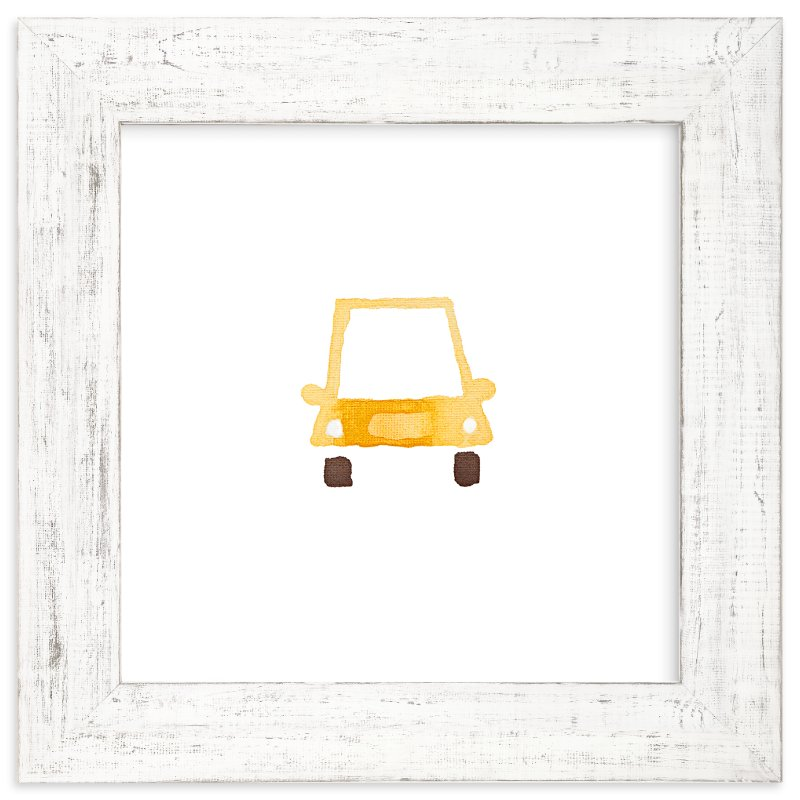 """Yellow Car Art"" - Art Print by Jan Dolby in beautiful frame options and a variety of sizes."
