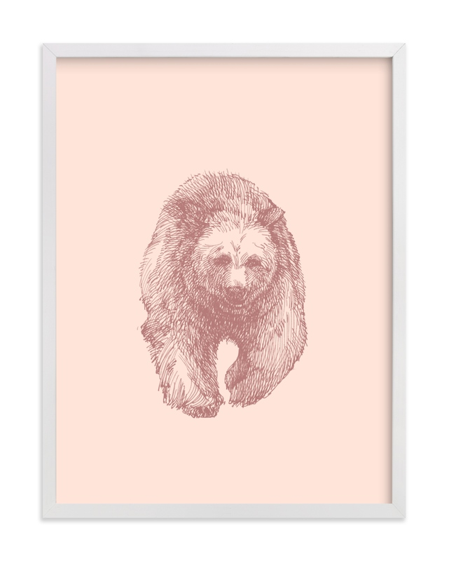 This is a pink kids wall art by IMG_101 called the Bear.