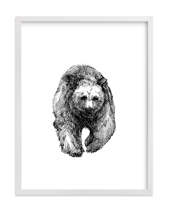 This is a black and white kids wall art by IMG_101 called the Bear.