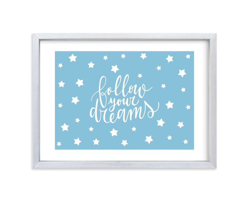 """""""Follow your Dreams Lettering"""" - Art Print by Luz Alliati in beautiful frame options and a variety of sizes."""
